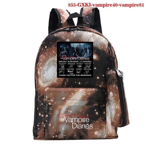 The Vampire Diaries Backpack Girls School Bag with Pencil Case Teenager Kids Purse Bag The Vampire 4 - Vampire Diaries Merch