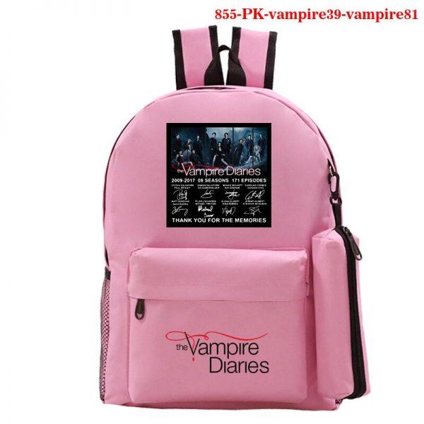 The Vampire Diaries Backpack Girls School Bag with Pencil Case Teenager Kids Purse Bag The Vampire 5 - Vampire Diaries Merch