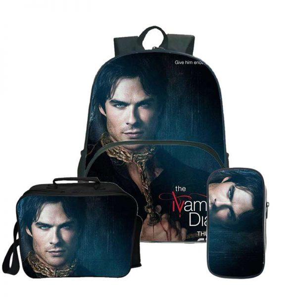The Vampire Diaries Backpack Laptop Backpack women men Backbag Travel Daypacks School Bookbag Backpacks with pencil 1 - Vampire Diaries Merch