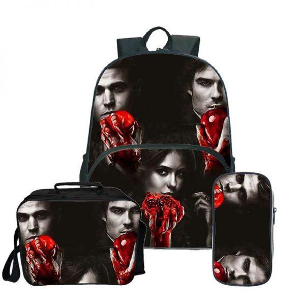 The Vampire Diaries Backpack Laptop Backpack women men Backbag Travel Daypacks School Bookbag Backpacks with pencil 2 - Vampire Diaries Merch