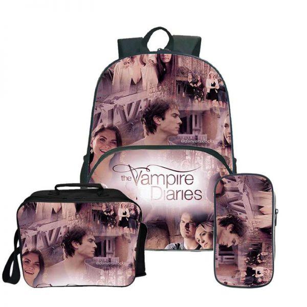 The Vampire Diaries Backpack Laptop Backpack women men Backbag Travel Daypacks School Bookbag Backpacks with pencil - Vampire Diaries Merch