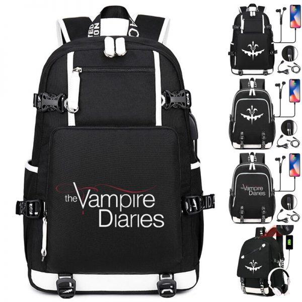 The Vampire Diaries Backpack Students School Bags Cool New Pattern Knapsack for Men Women Teens Bookbag 1 - Vampire Diaries Merch