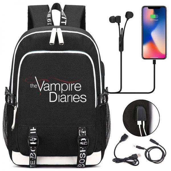 The Vampire Diaries Backpack Students School Bags Cool New Pattern Knapsack for Men Women Teens Bookbag 2 - Vampire Diaries Merch