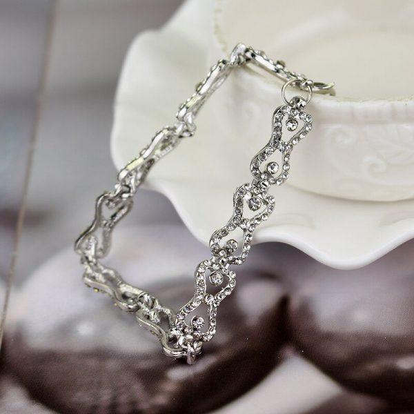 The Vampire Diaries Charm Bracelet Shiny Rhinestones Bow Chain Bangle Bracelets a Bracelet for Women Jewelry - Vampire Diaries Merch