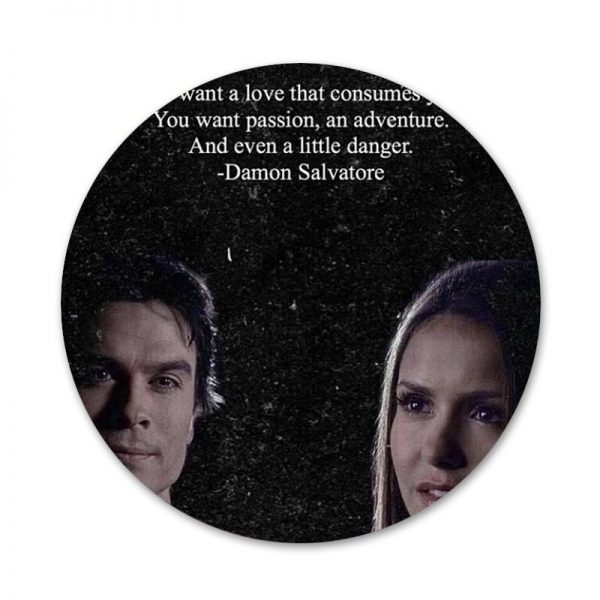 The Vampire Diaries Damon Salvatore Badge Brooch Pin Accessories For Clothes Backpack Decoration gift 2 - Vampire Diaries Merch