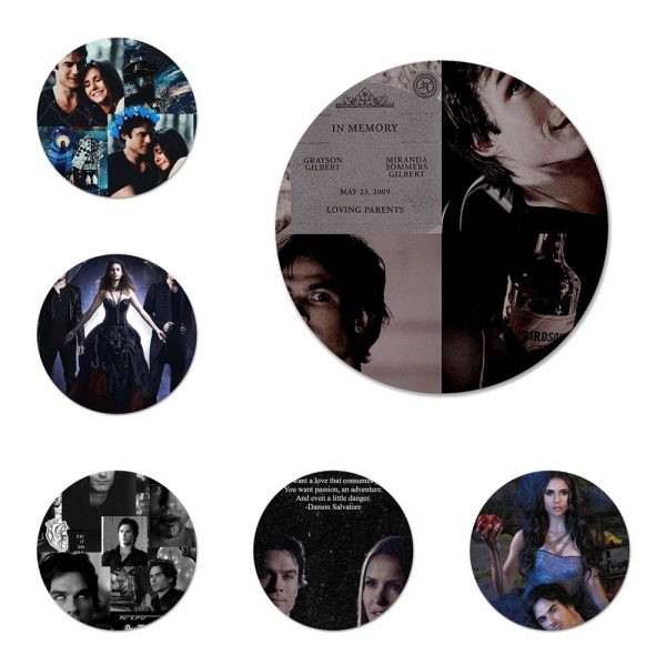The Vampire Diaries Damon Salvatore Badge Brooch Pin Accessories For Clothes Backpack Decoration gift - Vampire Diaries Merch