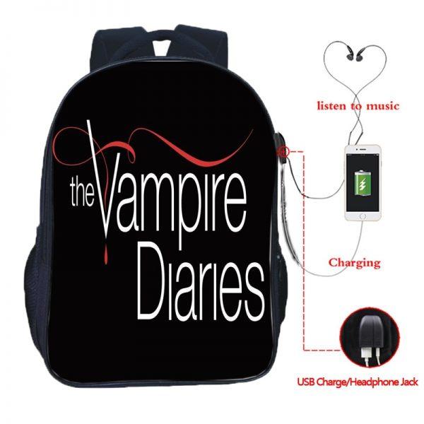 The Vampire Diaries Double Pocket USB Charge Backpack Nylon Teenager School Bag Men Women Boys Girls 1 - Vampire Diaries Merch