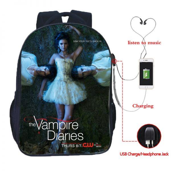 The Vampire Diaries Double Pocket USB Charge Backpack Nylon Teenager School Bag Men Women Boys Girls 2 - Vampire Diaries Merch