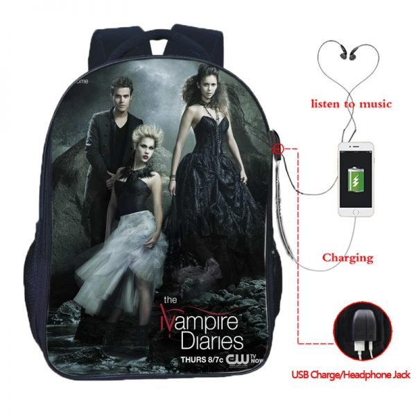 The Vampire Diaries Double Pocket USB Charge Backpack Nylon Teenager School Bag Men Women Boys Girls 3 - Vampire Diaries Merch