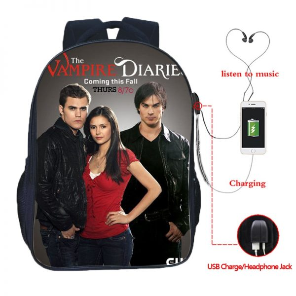 The Vampire Diaries Double Pocket USB Charge Backpack Nylon Teenager School Bag Men Women Boys Girls 4 - Vampire Diaries Merch