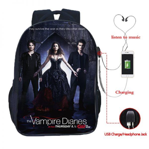 The Vampire Diaries Double Pocket USB Charge Backpack Nylon Teenager School Bag Men Women Boys Girls 5 - Vampire Diaries Merch