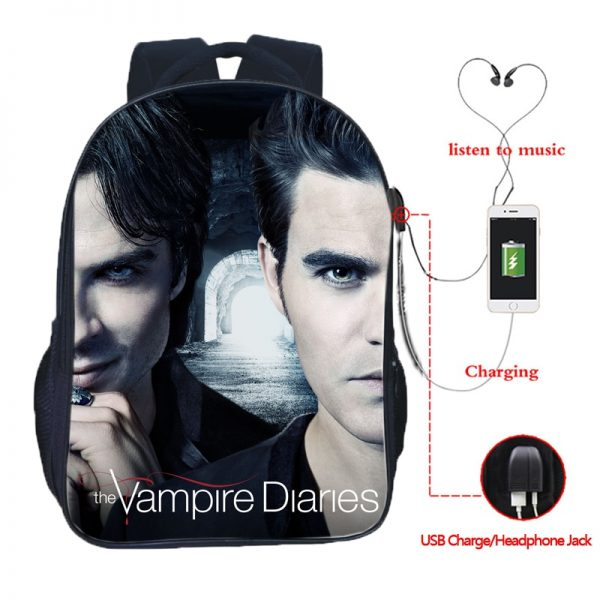 The Vampire Diaries Double Pocket USB Charge Backpack Nylon Teenager School Bag Men Women Boys Girls - Vampire Diaries Merch