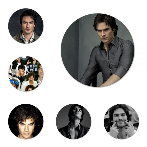 The Vampire Diaries Ian Somerhalder Badge Brooch Pin Accessories For Clothes Backpack Decoration gift - Vampire Diaries Merch