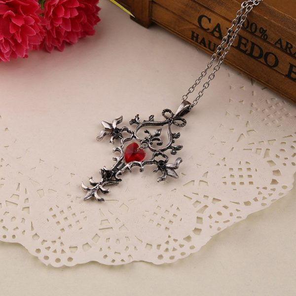 The Vampire Diaries Necklace Cross Red Heart Crystal Pendant Vintage Baroque Gothic Punk Hot Movie Jewelry 2 - Vampire Diaries Merch