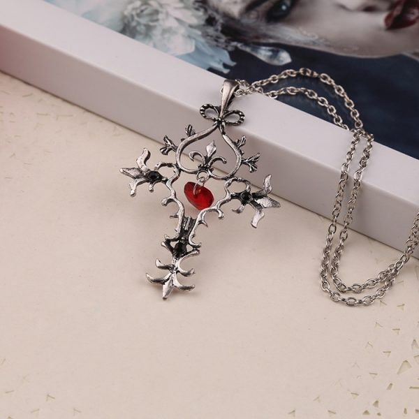 The Vampire Diaries Necklace Cross Red Heart Crystal Pendant Vintage Baroque Gothic Punk Hot Movie Jewelry - Vampire Diaries Merch