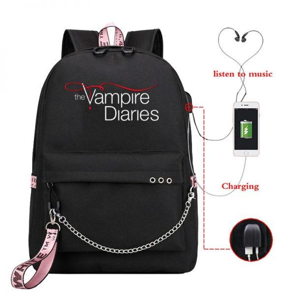 The Vampire Diaries Print Backpack for Women School Shoulder Bag Bagpack for Teenage Girls Female Travel 1 - Vampire Diaries Merch