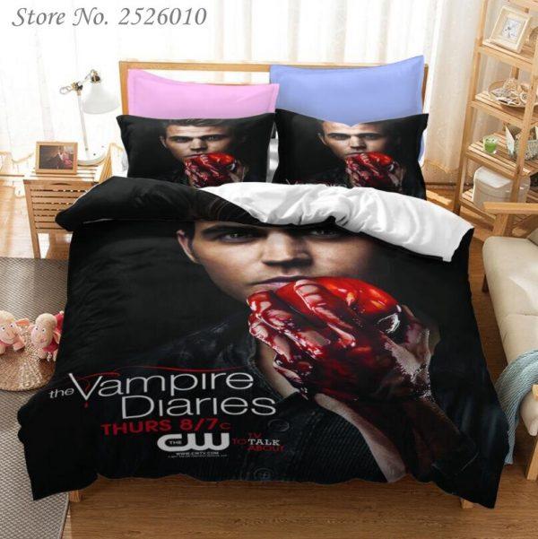 The Vampire Diaries Print Bedding Set 3D Character Duvet Cover Set with Pillowcase Twin Full Queen - Vampire Diaries Merch