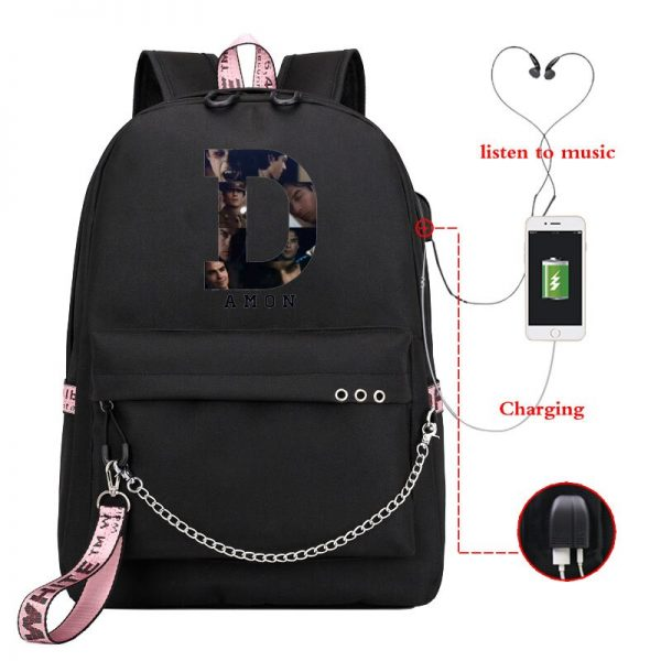 The Vampire Diaries School Bags Girls Teenagers USB Charging Backpacks Teen Student Book Bag Casual Big 1 - Vampire Diaries Merch