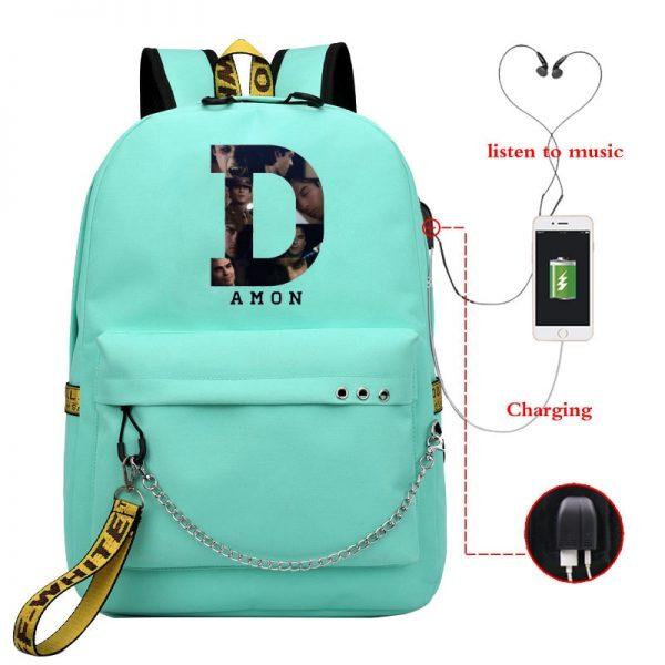 The Vampire Diaries School Bags Girls Teenagers USB Charging Backpacks Teen Student Book Bag Casual Big 2 - Vampire Diaries Merch