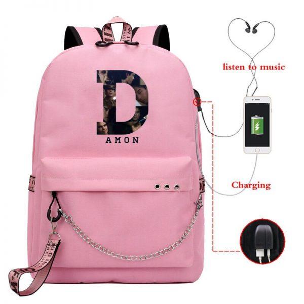 The Vampire Diaries School Bags Girls Teenagers USB Charging Backpacks Teen Student Book Bag Casual Big 3 - Vampire Diaries Merch