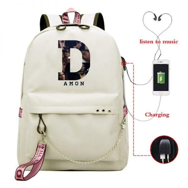The Vampire Diaries School Bags Girls Teenagers USB Charging Backpacks Teen Student Book Bag Casual Big - Vampire Diaries Merch