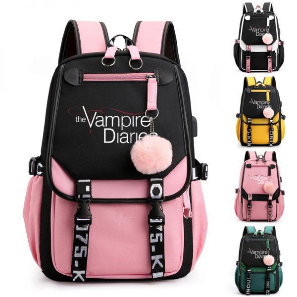 The Vampire Diaries School Bags Teenager Girls Laptop Backpacks Casual Backpacks Outdoor Backpack Women Travel Bag - Vampire Diaries Merch