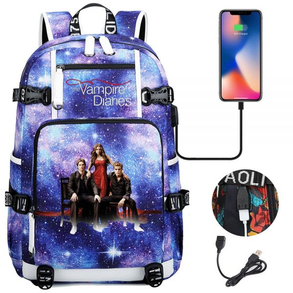 Vampire Diaries Backpack Women Men Multifunction Waterproof USB Charging Laptop Backpacks School Travel Bags for Boys - Vampire Diaries Merch