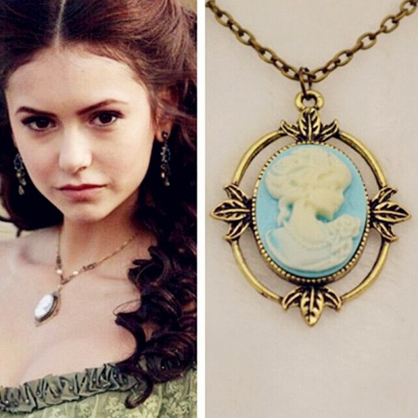 Vampire Diaries Necklace Katherine Pierce Cameo Beauty Head Pendant Necklace Movie Jewelry Vintage Bronze Rhinestone Necklaces 1 - Vampire Diaries Merch